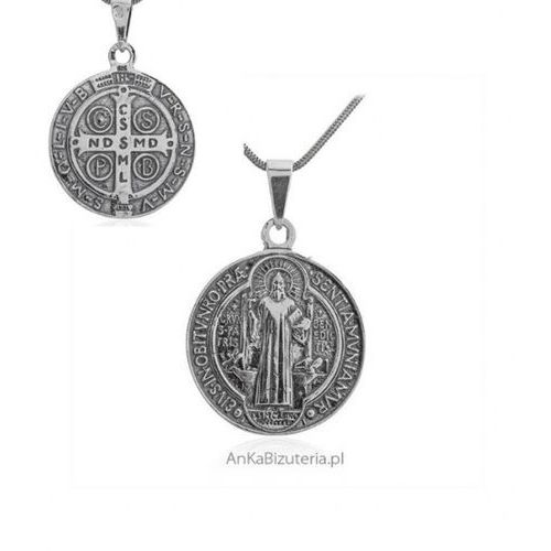 ankabizuteria.pl Duży medalik srebrny oksydowany św benedykta