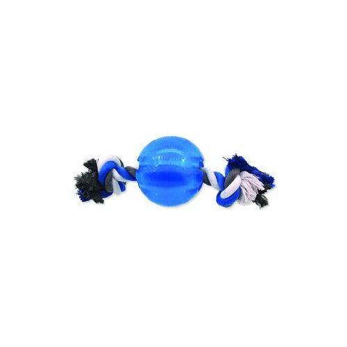 Zabawka DOG FANTASY Strong piłeczka gumowa na snurze niebieska 8,2 cm