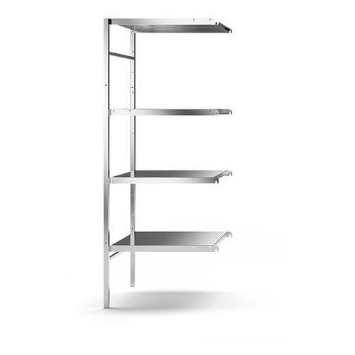 Regał wtykowy ze stali szlachetnej, 4 gładkie półki, szer. półki x gł. 640x540 m marki Kek