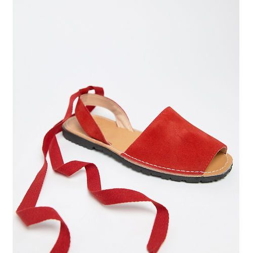 Park Lane Wide Fit Suede Tie Leg Flat Sandals - Red, kolor czerwony