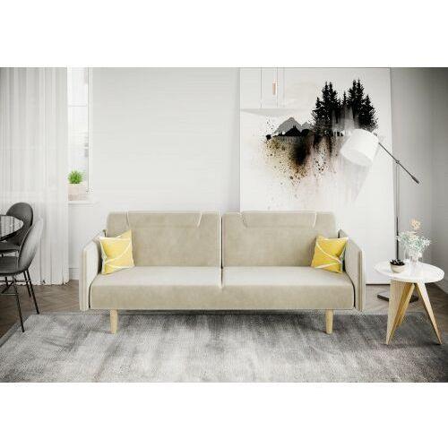Big meble Sofa kanapa wersalka rovigo welur beżowa rozkładana z funkcją spania dostawa 0zł
