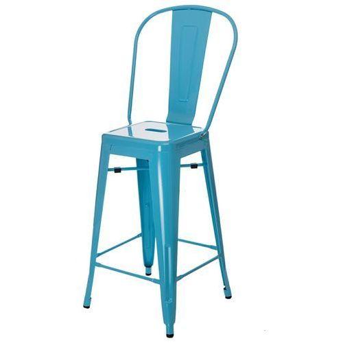 D2.design Stołek barowy paris back niebieski inspirowany tolix