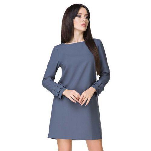 Niebieska Sukienka z Falbanką przy Rękawie, T196/1be
