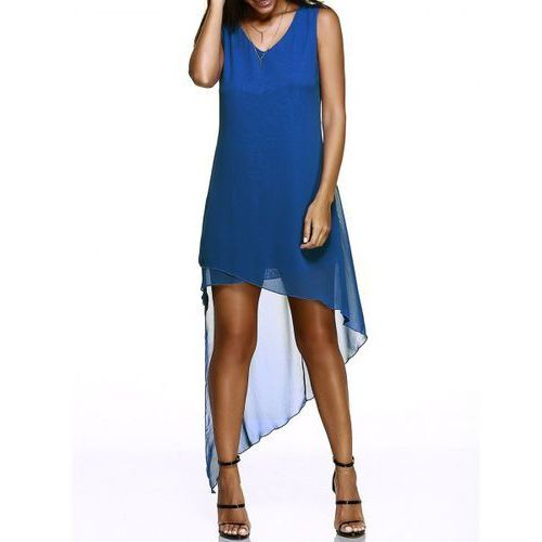 Chic V-Neck Asymmetric Hem Sleeveless Chiffon Dress For Women