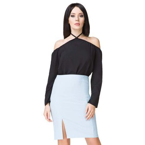 Błękitna spódnica ołówkowa przed kolano z wysokim stanem marki Tessita