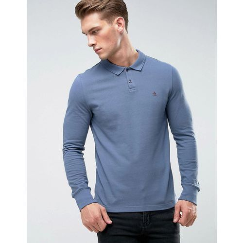 Original Penguin Winston Polo Long Sleeve Small Logo Slim Fit in Dark Blue - Blue