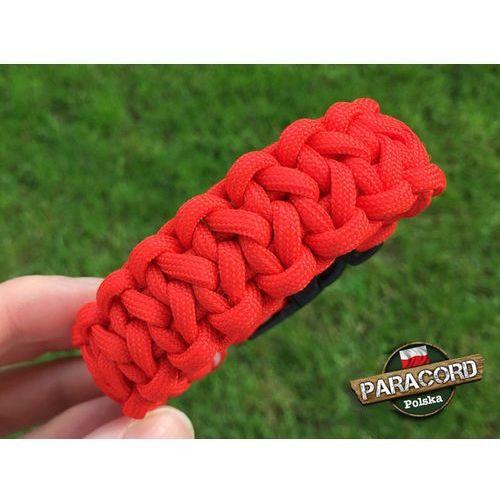 """Bransoleta z Paracordu typ """"Two Face"""" z wplecioną plastikową klamrą, kolor """"Red"""""""