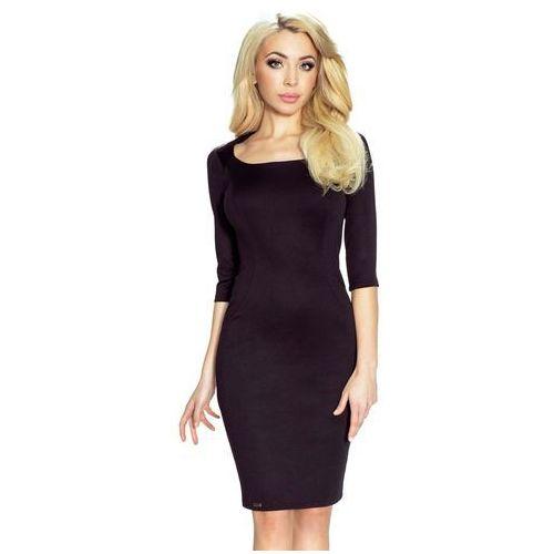 Czarna Sukienka Elegancka z Dekoltem Karo, kolor czarny