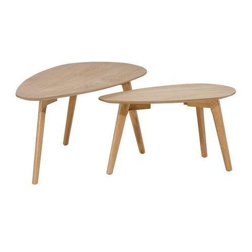 Zestaw stolików kawowych TARROS DUO dąb - MDF, nogi dębowe, 9360-1.OAK (10650604)