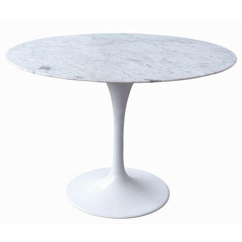 Stół tulip marble 120 biały - blat okrągły marmurowy, metal marki Sofa.pl
