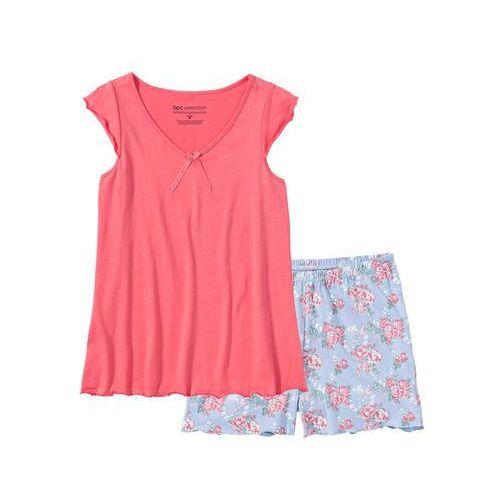 Piżama z krótkimi spodenkami bonprix jasnoróżowy w kwiaty