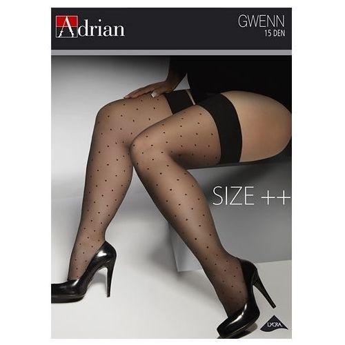Pończochy gwenn size ++ 15 den 7/8, brązowy/lyon, adrian marki Adrian