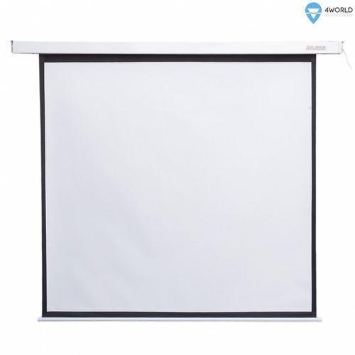 4world Elektryczny ścienny/sufitowy ekran projekcyjny z pilotem 127x127 (1:1) matt white (5908214361748)