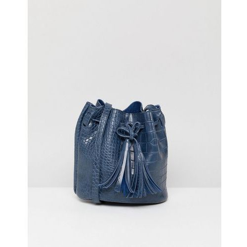French Connection Croc Effect Bucket Bag - Navy