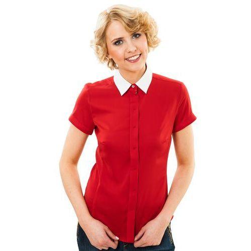 Koszula biały kołnierzyk - Duet Woman, kolor czerwony