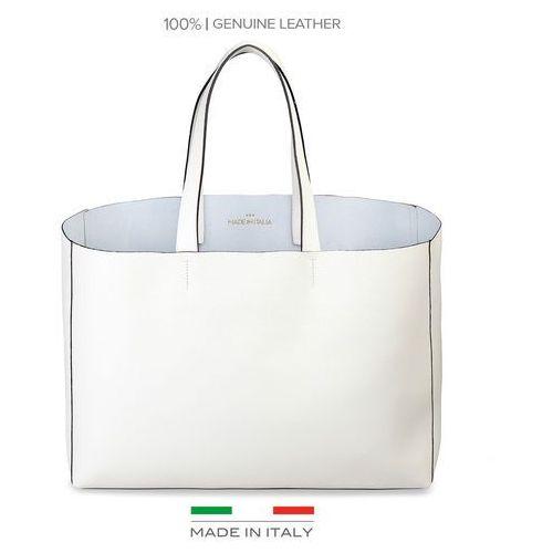 Torebka shopper damska MADE IN ITALIA - LUCREZIA-18, kolor biały