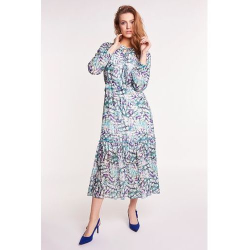 293204ffde Suknie i sukienki · Zwiewna sukienka midi w zielone wzory