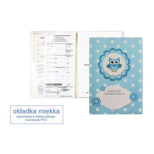 Okładka etui na książeczkę zdrowia dziecka, PVC - 3-błękitna sówka i groszki (2501234504398)