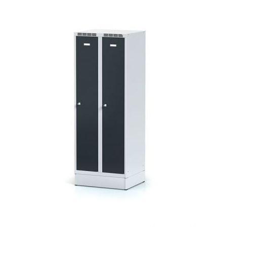 Alfa 3 Metalowa szafka ubraniowa obniżona, na cokole, antracytowe drzwi, zamek obrotowy