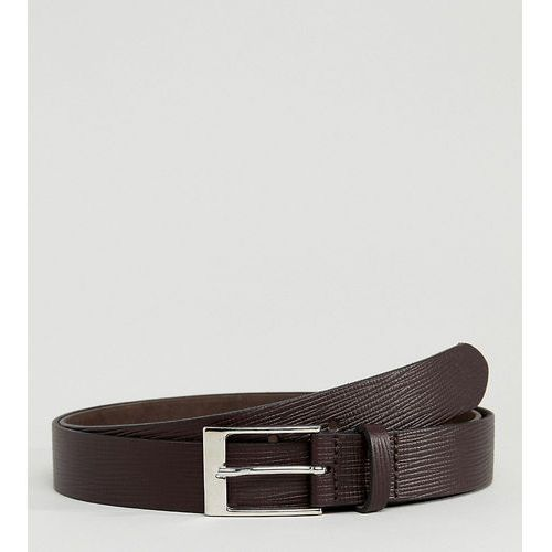 ASOS PLUS Smart Slim Belt In Brown Leather With Saffiano Emboss - Brown