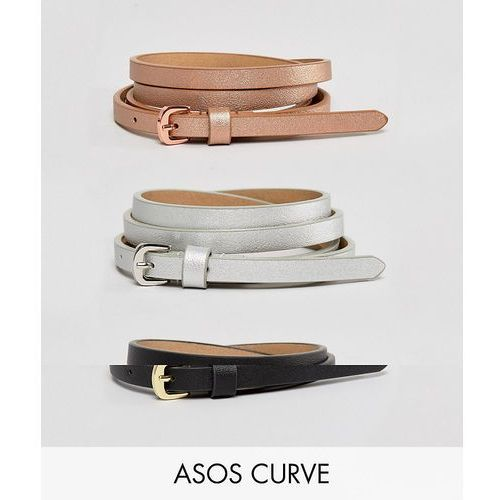 3 pack metallic waist and hip belts - multi marki Asos curve