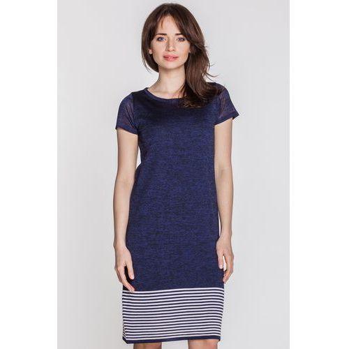 Granatowa sukienka z dołem w paski - Far Far Fashion, kolor niebieski