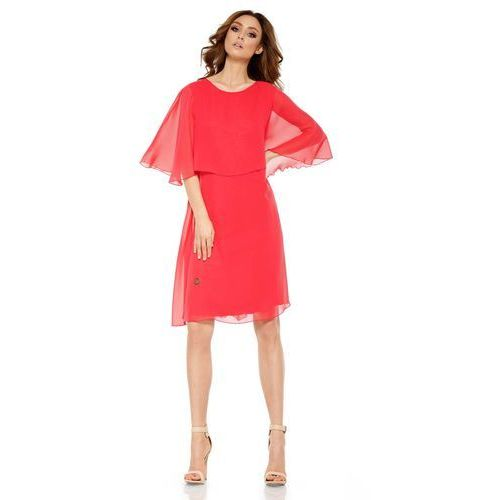 Malinowa Elegancka Wieczorowa Sukienka z Narzutką, kolor czerwony
