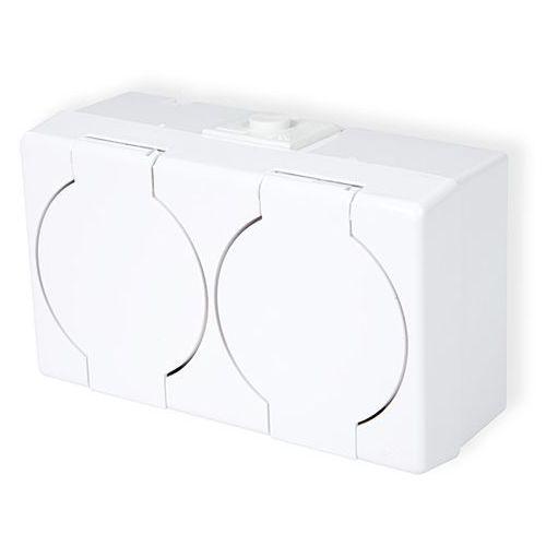 KARLIK SENIOR GHS-2n Gniazdo podwójne 2x2P+Z (klapka biała) biały