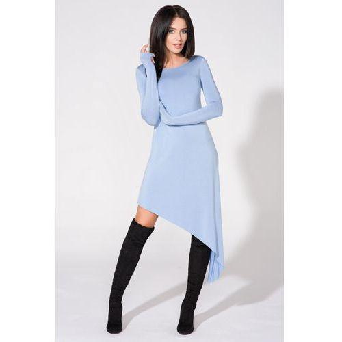 Niebieska Sukienka Asymetryczna Dzianinowa z Długim Rękawem, w 5 rozmiarach