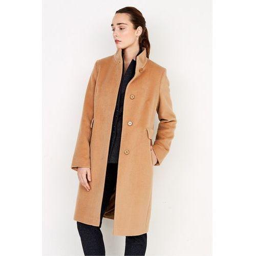 Patrizia aryton Beżowy płaszcz z wełny dziewiczej i kaszmiru -