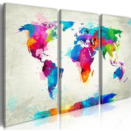 Obraz - map of the world - an explosion of colors (triptych) od producenta Artgeist