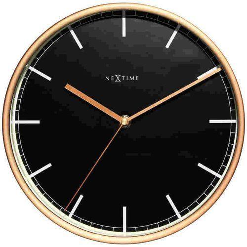 NeXtime Zegar ścienny czarno - miedziany - 'Company', kolor czarny