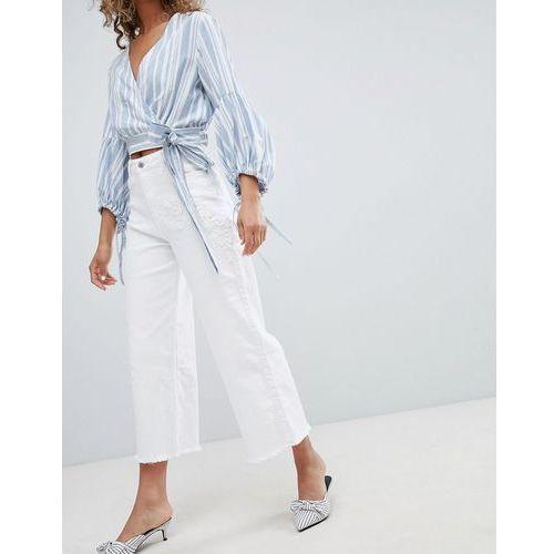 Miss Selfridge Wide Leg Cropped Jeans - White, jeans
