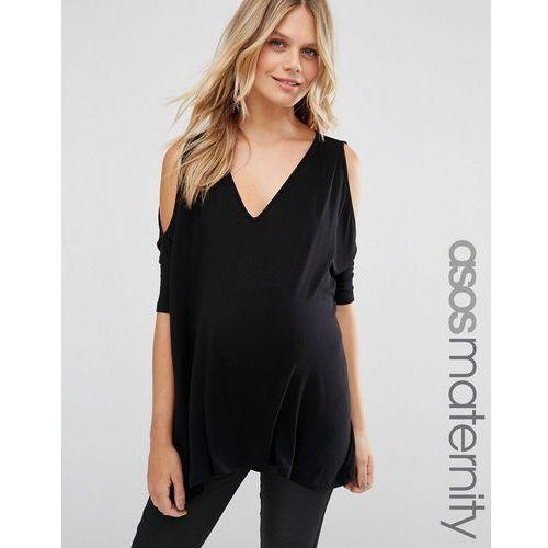 ASOS Maternity Oversized Cold Shoulder Top with Asymmetric Hem - Black