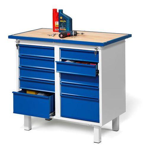 Stół warsztatowy FLEX, na nóżkach, 10 szuflad, 23248