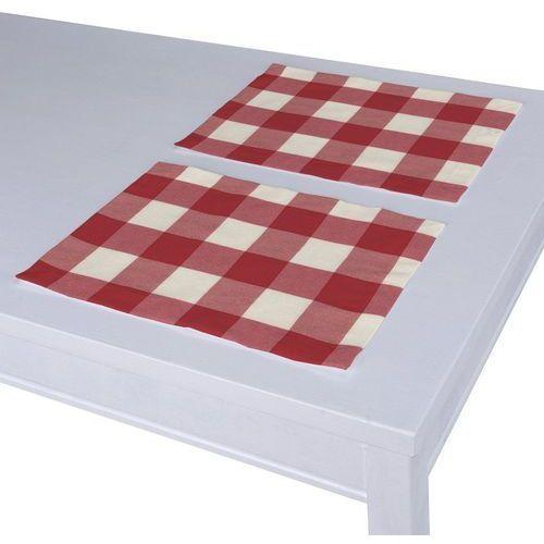 Dekoria Podkładka 2 sztuki, czerwono biała krata (5,5x5,5cm), 40 x 30 cm, Quadro