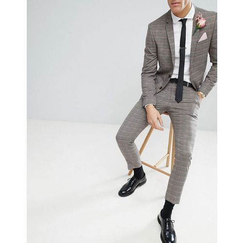 wedding skinny fit suit trousers in brown and pink check - pink marki River island