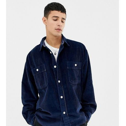 Noak chunky cord shirt in navy with long sleeves - navy
