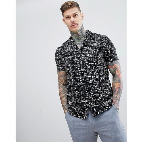 Boohooman oversized shirt with polka dot print in black - black