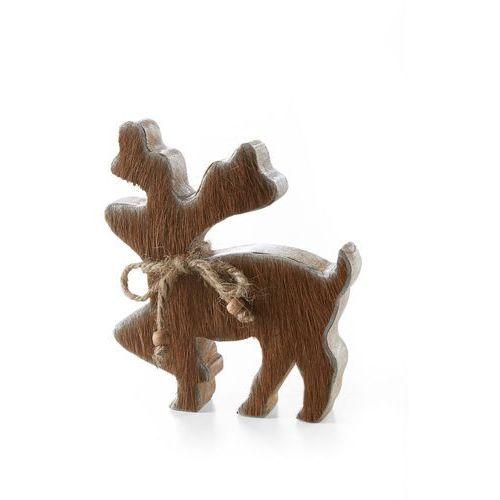 Renifer z drewna z wstawkami z krowiego futerka brązowy marki Bonprix
