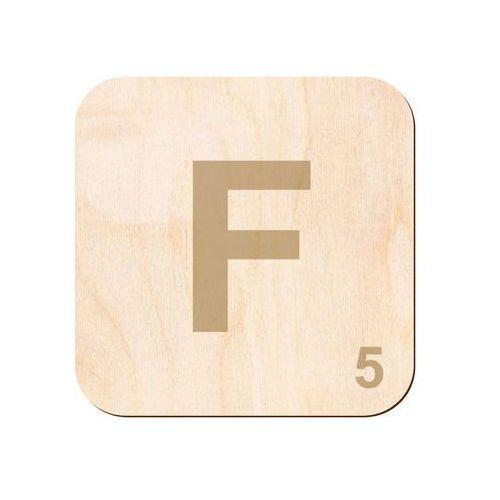 Drewniana dekoracja na ścianę scrabble - literka F