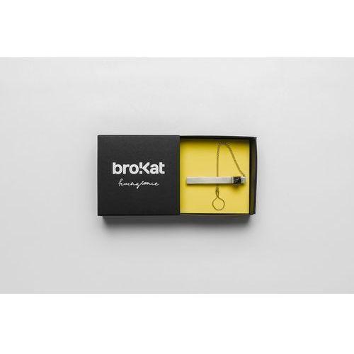 Spinka do krawata z węglem i łańcuszkiem brokat 90° marki Pracownia bro.kat
