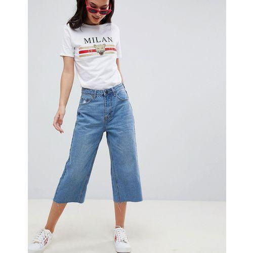 Boohoo Wide Leg Crop Jeans - Blue, kolor niebieski