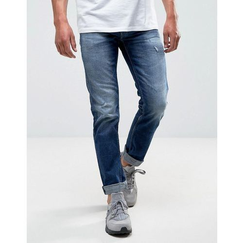 grover straight jean dark wash rips - blue, Replay