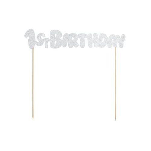 Party deco Topper na tort 1st birthday srebrny - 19,5 cm