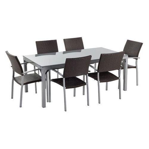 Beliani Stół szary polerowany - do ogrodu - z 6 rattanowymi krzesłami - torino (7081453071468)