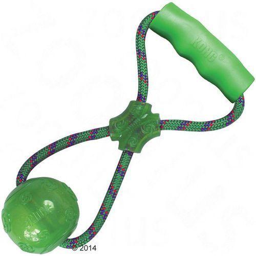 KONG Squeezz Ball z uchwytem - Dł: ok. 32,5 cm; piłka: Ø 8 cm; dł. uchwytu: 11 x 2 cm