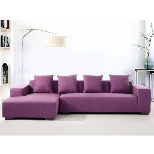 Beliani Sofa fioletowa - sofa narożna p - tapicerowana - lungo