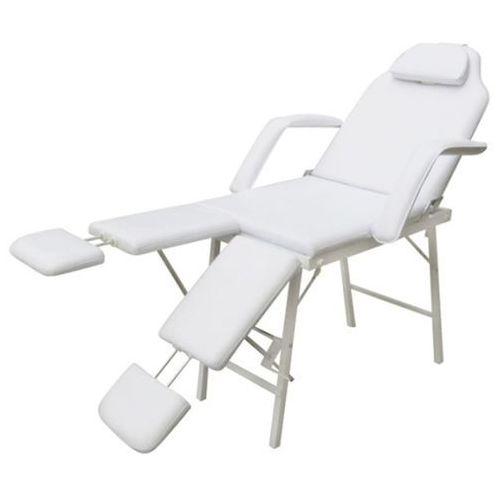 vidaXL Fotel kosmetyczny z regulacją podnóżków biały, kolor biały
