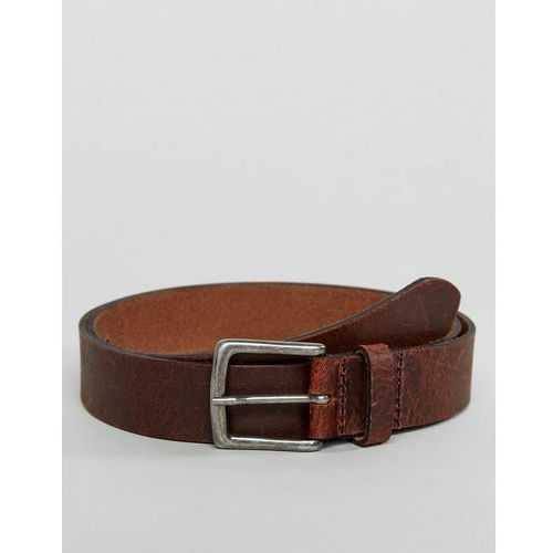 ASOS Leather Slim Belt In Brown With Vintage Finish - Brown